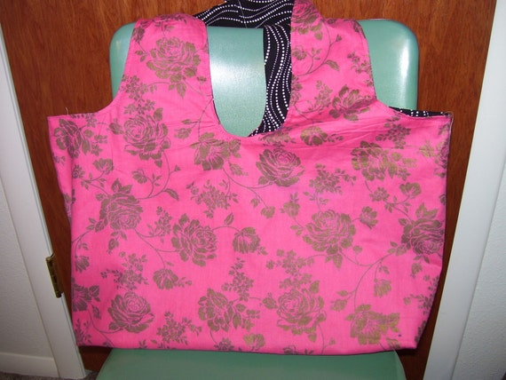 Pink Gold Rose and Black and White Reversible Cotton Book Tote