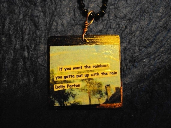 Dolly Parton Rainbow Quote Pendant Necklace By AngularArt