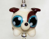 Adorable Puppy Dog Lampworked Glass Necklace and Cell Charm