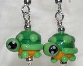 Adorable Tiny Bright Green Turtle Lampwork Glass Earrings