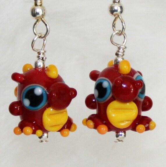 Cute Red Dragon Lampworked Glass Earrings