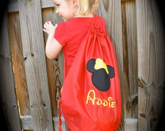 Mickey or Minnie Cinch Backpack you pick design and color