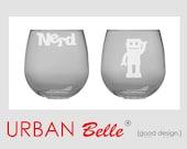 Nerd Stemless Red Wine Glasses - Set of 2