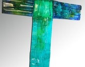 Upcycled Window Glass Green and Blue Wall Cross - CUSTOM MADE ITEM