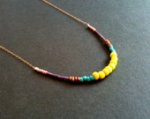 SUMMERTIME bright colorful beaded necklace on sparkly gold fill chain