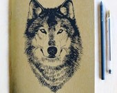 Large Gold Wolf Notebook Journal, metallic book cover, lined recycled paper, offset printed, Wolf Face, woodland, made in Portland Oregon