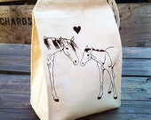 Eco Lunch Sack with HORSE / PONY LOVE design, Recycled Cotton Canvas Lunch Bag with Handle