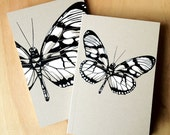 1 Mini Butterfly Insect Journal, small blank sketch pocket book, black & white, original design, all recycled paper