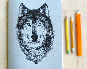 Large Silver Wolf Sketch Book,  Blank Paper, metallic book cover, offset printed, woodland werewolf graphic, wolves art drawing book