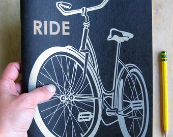 Large Bike Sketch Book, metallic silver book cover, offset printed, blank recycled paper