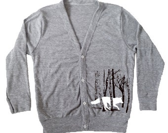 Kids Fox Shirt, Kids Cardigan, Children's clothing Grey Running Fox / Wolf in the woods, kid's button up shirt, toddler fox sweater