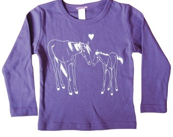 Kids Horse Shirt, Now on Sale, HORSE and PONY love shirt, long sleeve purple t-shirt, toddler and youth sizes, interlock cotton