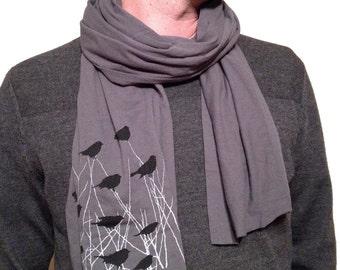 Bird Scarf, FLOCK of blackbirds scarf, mens scarf, womens scarf, long printed scarf, womens clothing, mens clothing, bird fashion accessory