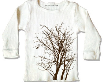 Kids Organic Tree shirt, Organic Cream Thermal, long sleeve shirt for kids, simple brown ink print, select sizes available