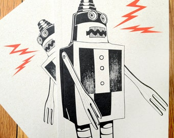 1 Build a Robot Journal, Notebook, Sketchbook, blank white paper, small book made with 100% recycled paper, good for kids