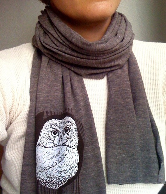 OWL scarf, tri-blend brown, perfect weight for winter and fall weather layering, long scarf, woodland faux bois design, unisex holiday gift