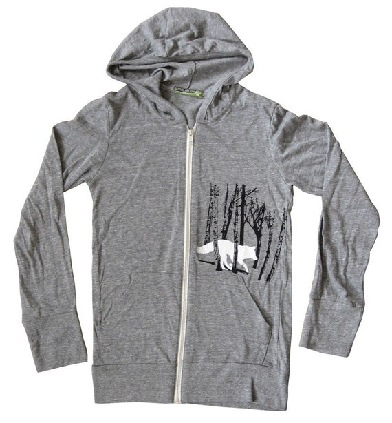 Eco Heather grey, FOX Hooded sweatshirt, Sexy for men and women, perfect weight for layering, metal silver zipper, ultra soft