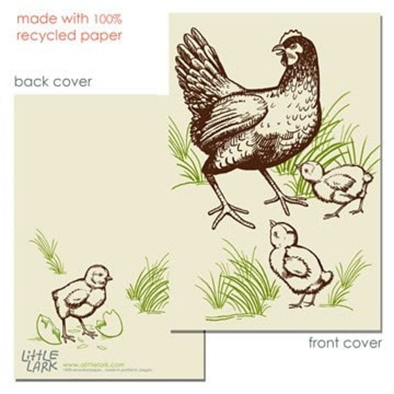 Farm Chickens, Hen and Chicks Journal, blank sketch book, recycled paper, small pocket size, great stocking stuffer
