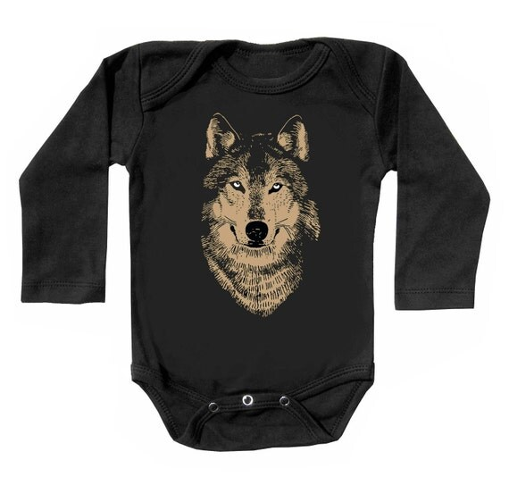 Sale Metallic Gold Wolf Infant bodysuit black by alittlelark