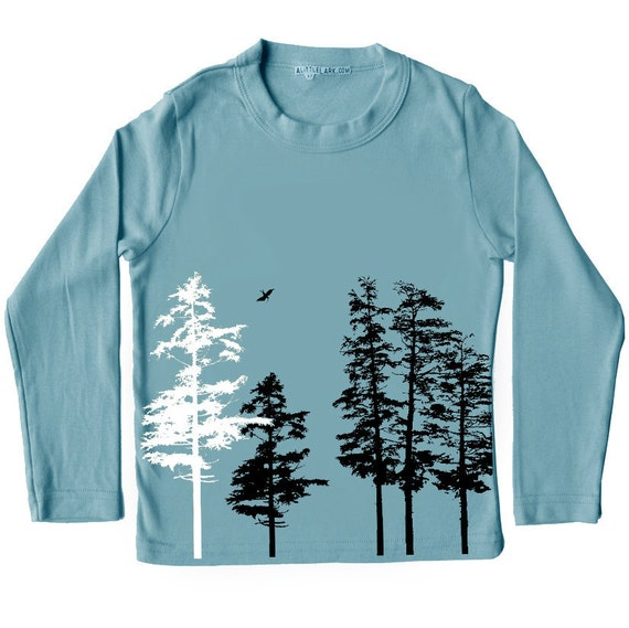 Kid's Hemlock tree shirt, storm blue long sleeve t-shirt, interlock cotton screenprint, toddler sizes