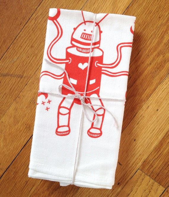 Bright Red Robot Kitchen tea towel, flour sack towel, white cotton screenprint,  Heart love, great Valentine gift