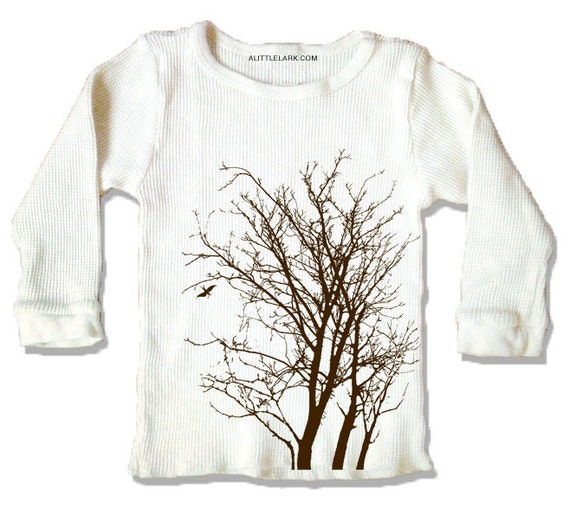Tree Thermal, Organic Cream long sleeve shirt for kids, simple brown ink print, select sizes available