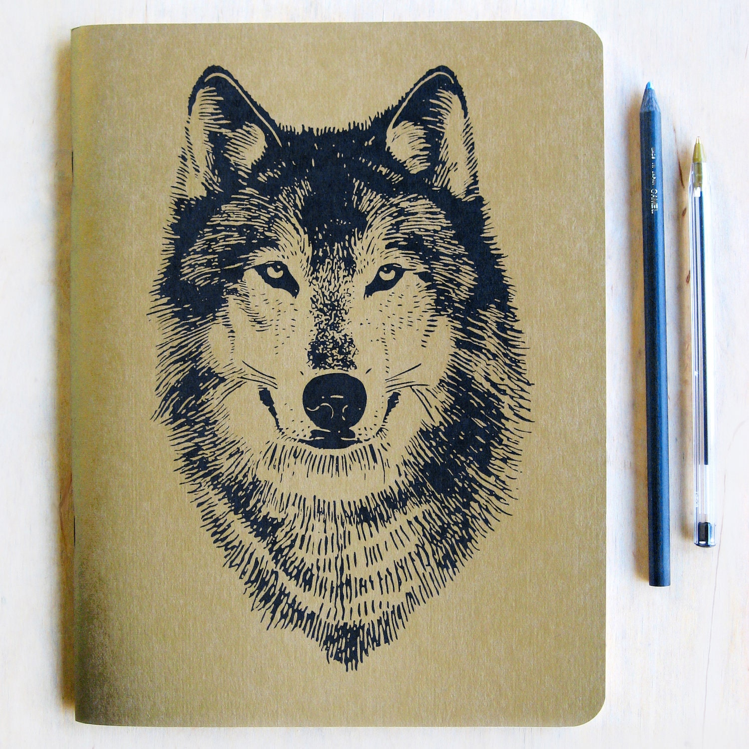 Book Cover Paper Weight : Large gold wolf notebook journal metallic book cover lined