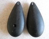 6 Vintage Lucite Beads large matte black tear drop pendants
