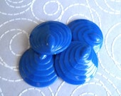 4 Vintage Lucite Blue Detailed Round Cabochon beads