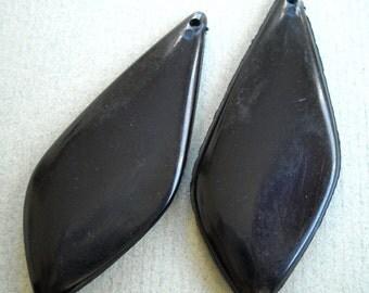 2 Vintage lucite  Beads large black diamond shaped