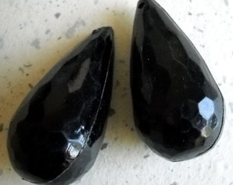 4 Vintage lucite beads large black faceted tear drop