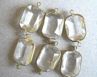 Crystal clear Acrylic Brass Channel Set Faceted 2 Loop Charms, Connector Bead Rivoli Bead, Faux Crystal Beads, 6