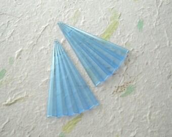 2 Vintage Lucite Large Origami Blue Fan Triangle Bead Pendant