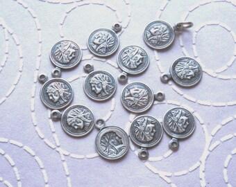 Silver Tone Greek Head Flat Bead Pendants, 14