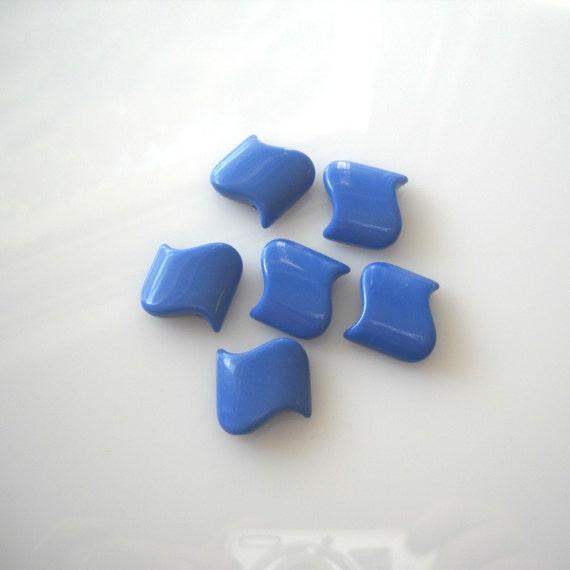 6 Rare Blue Vintage Lucite Rare Bright  Wave Beads