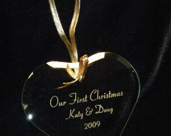 Personalized Engraved Glass Christmas Ornament