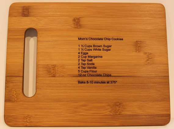 Mothers or Fathers Day Gift Typed Recipe - Bamboo Cutting Board with Laser Engraved Recipe - Personalized  13 x 9.5