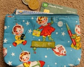 Zipper Cosmetic Pouch with Pretty Blue Retro Space Kids Print