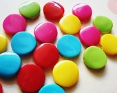 FREE SHIPPIING US - Flat Round Mixed Color Acrylic Beads