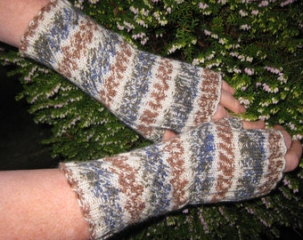Fingerless Mittens / Fingerless Gloves / Hand warmers/ . Hand knit in Brown / Grey / White Wool - Val240. FREE SHIPPING WORLDWIDE