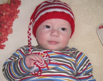 Baby Hat / Beanie - Elfin stripes. Newborn
