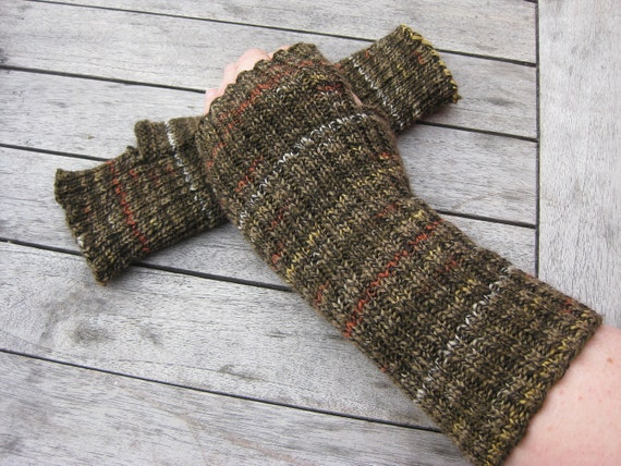 Man's Fingerless Mittens -  Fingerless Gloves -  Hand  Warmers - Hand knit in Winter Brown