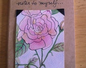 Mini Journal with Pink Rose Original ACEO Painting