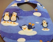 Penquins and Snowflakes Baby Bib - newborn to 6 months