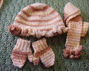 Hat, Mittens and Scarf for Baby - 3-6 months