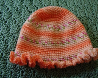 Peach Ruffled Edge Hat for Baby - 6-9 months
