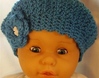 Cobalt Blue Baby Beret - 9-12 months