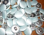 50 vintage buttons metal shank 3/4 blue satin fabric covered  lot