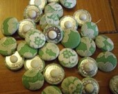 50 green satin fabric covered button with beige lace vintage cloth shank buttons