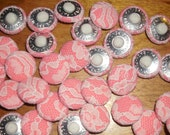 50 coral velour  fabric covered button with beige lace vintage